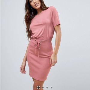 ASOS mini dress with rib skirt and corset waist